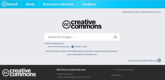 screen grab of creative commons search
